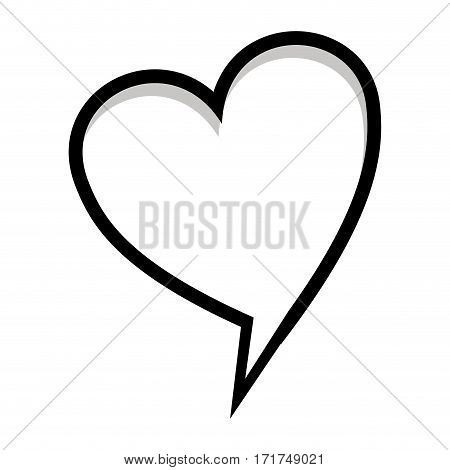 monochrome silhouette heart shape dialog box vector illustration