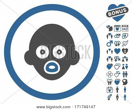 Baby Head icon with bonus marriage pictures. Vector illustration style is flat iconic cobalt and gray symbols on white background.