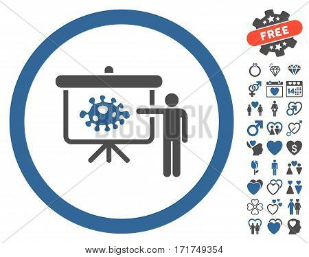 Bacteria Lecture icon with bonus love pictograms. Vector illustration style is flat iconic cobalt and gray symbols on white background.