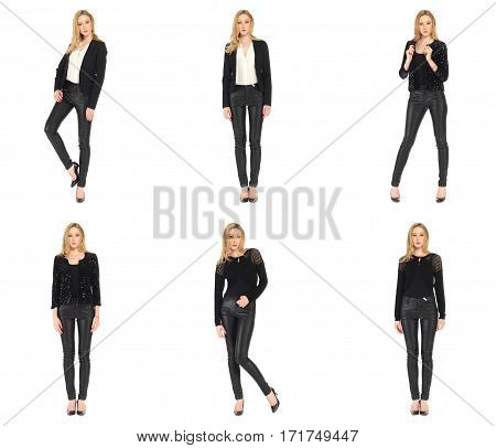 Sexy Blonde Twin Women Pose In Black Leather Pants Isolated