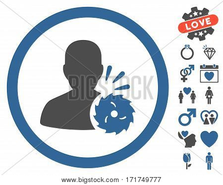 Body Execution icon with bonus amour pictograms. Vector illustration style is flat iconic cobalt and gray symbols on white background.