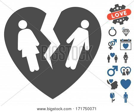 Broken Family Heart pictograph with bonus decoration graphic icons. Vector illustration style is flat iconic cobalt and gray symbols on white background.