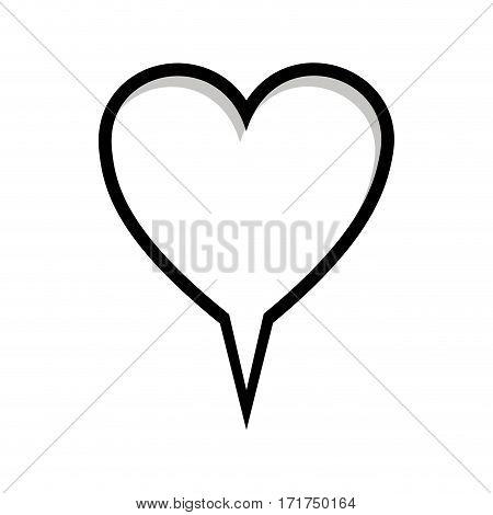monochrome silhouette heart shape dialog box vector illustration
