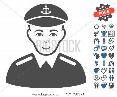 Captain pictograph with bonus lovely pictograms. Vector illustration style is flat iconic cobalt and gray symbols on white background.