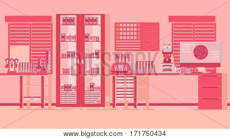 Medical Laboratory Illustration experiments tests cells tubes