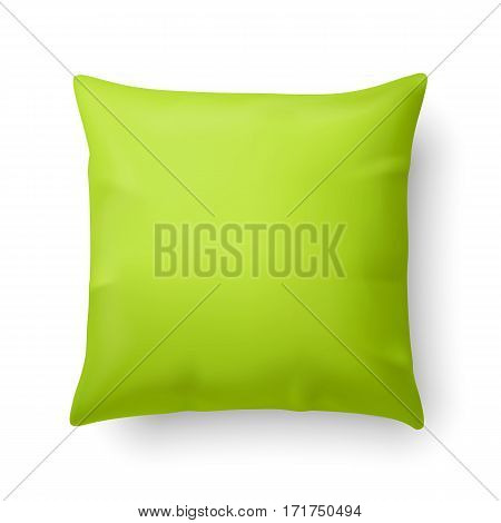 Close Up of a Pillow in Lime Color Isolated on White Background