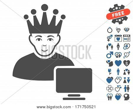 Computer Moderator icon with bonus valentine images. Vector illustration style is flat iconic cobalt and gray symbols on white background.