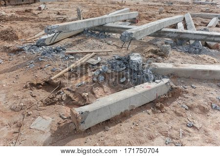 Damage Pillar On Ground At Construction Site