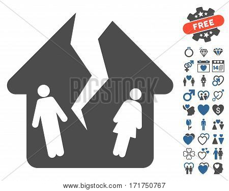 Divorce House icon with bonus lovely pictograph collection. Vector illustration style is flat iconic cobalt and gray symbols on white background.