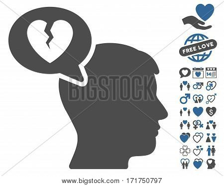 Divorce Thinking Man icon with bonus amour graphic icons. Vector illustration style is flat iconic cobalt and gray symbols on white background.