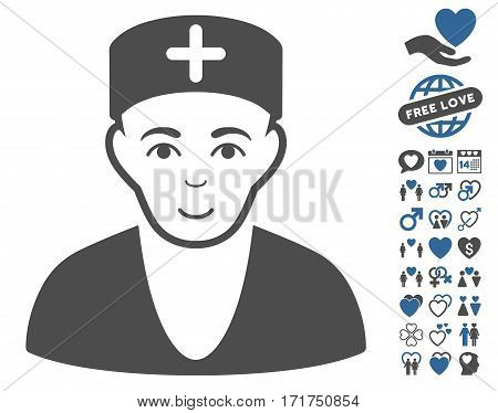 Doctor pictograph with bonus amour images. Vector illustration style is flat iconic cobalt and gray symbols on white background.