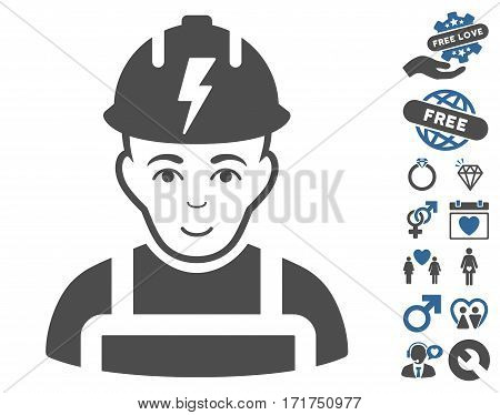 Electrician pictograph with bonus amour images. Vector illustration style is flat iconic cobalt and gray symbols on white background.