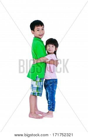 Asian Kindly Brother Hugging His Sister Smiling Happy Together, Isolated On White Background.