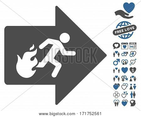 Fire Exit pictograph with bonus amour images. Vector illustration style is flat iconic cobalt and gray symbols on white background.