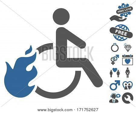 Fire Disabled Person pictograph with bonus romantic pictograph collection. Vector illustration style is flat iconic cobalt and gray symbols on white background.