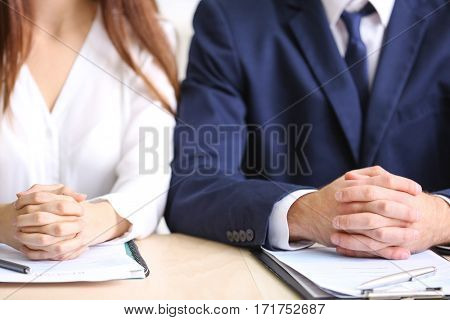 Group of interviewers during colloquy in office, close up