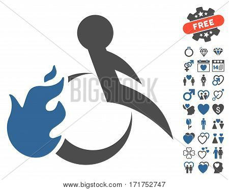 Fire Patient pictograph with bonus amour pictograph collection. Vector illustration style is flat iconic cobalt and gray symbols on white background.