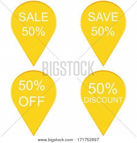 50 percent discount sign icon. Sale symbol