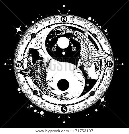 Black and white carp in Yin and Yang symbol tattoo art vector boho style meditation philosophy harmony concept.