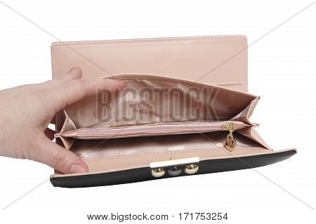 hand opens empty wallet. isolated white background