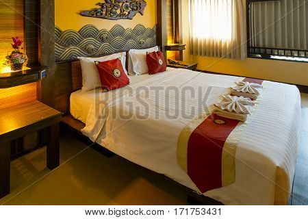 Bangkok, Thailand - November 4 2016: Interior Of A Bedroom Decorated With Northern Thai Traditional