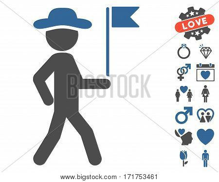 Gentleman Flag Guide pictograph with bonus passion images. Vector illustration style is flat iconic cobalt and gray symbols on white background.