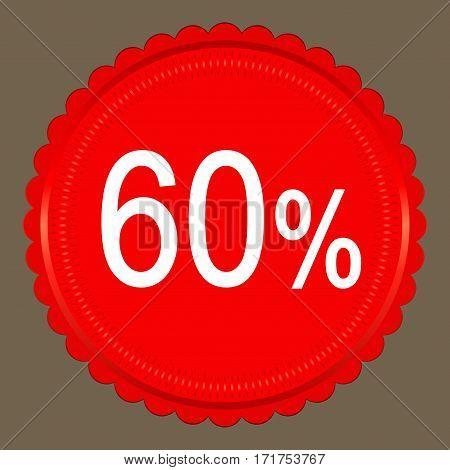 Sale 60 percent banner design over a grey background vector illustration