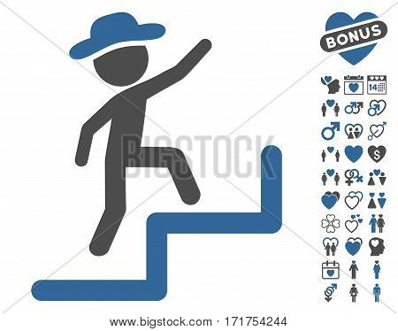 Gentleman Steps Upstairs icon with bonus valentine icon set. Vector illustration style is flat iconic cobalt and gray symbols on white background.