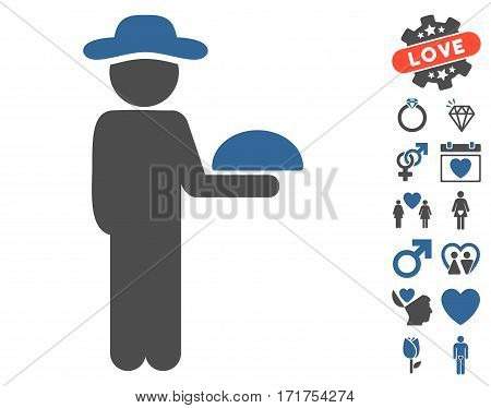 Gentleman Waiter pictograph with bonus marriage images. Vector illustration style is flat iconic cobalt and gray symbols on white background.