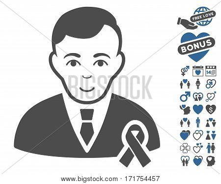 Gentleman With Mourning Ribbon pictograph with bonus decoration images. Vector illustration style is flat iconic cobalt and gray symbols on white background.