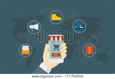 Online Shop Concept. Computer Monitor with awning decoration, With e-commerce object Icon