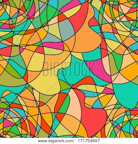 Seamless pattern with abstract stained glass colorful shapes