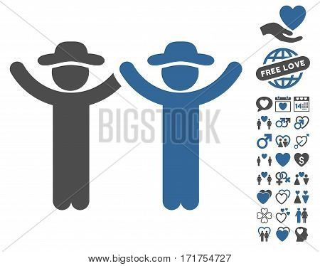 Hands Up Gentlemen pictograph with bonus lovely graphic icons. Vector illustration style is flat iconic cobalt and gray symbols on white background.
