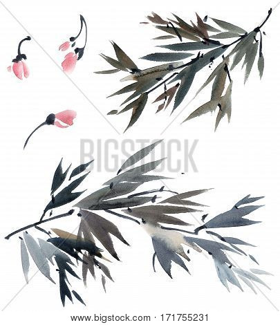 Watercolor and ink illustration of tree foliage and flowers in style sumi-e u-sin. Oriental traditional painting.