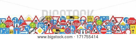 Many different traffic signs isolated on white background 3D rendering
