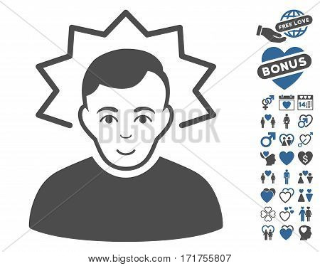 Inventor pictograph with bonus valentine images. Vector illustration style is flat iconic cobalt and gray symbols on white background.