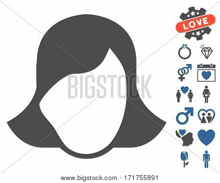 Lady Face Template pictograph with bonus amour symbols. Vector illustration style is flat iconic cobalt and gray symbols on white background.