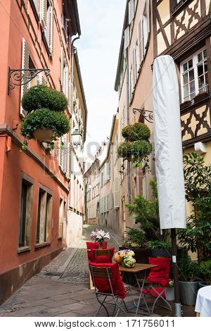 View of narrow lane in old town Strasbourg France