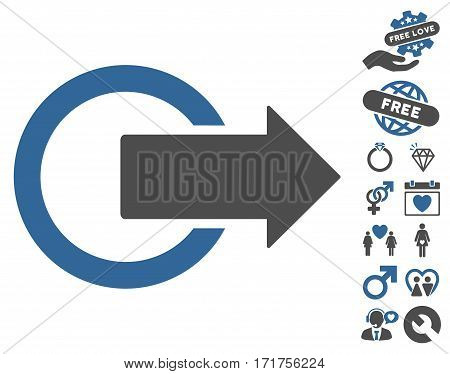 Logout icon with bonus love symbols. Vector illustration style is flat iconic cobalt and gray symbols on white background.