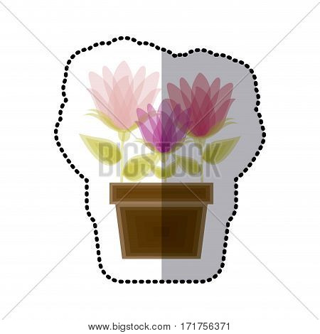 sticker faded spring flower collection in pot vector illustration