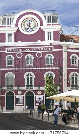 LISBON, PORTUGAL - September 26, 2016: Facade of the nineteenth century neoclassical Trindade Theatre one of the most active theatres in Lisbon Portugal.