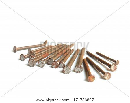 Old rusty nails / isolated white /