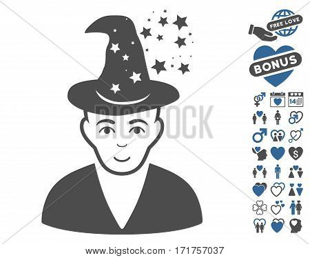 Magic Master pictograph with bonus romantic pictograph collection. Vector illustration style is flat iconic cobalt and gray symbols on white background.