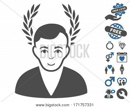 Man Glory pictograph with bonus dating design elements. Vector illustration style is flat iconic cobalt and gray symbols on white background.