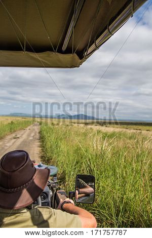 Game ranger seen from behind while on game drive, overlooking grasslands at a game reserve in South Africa