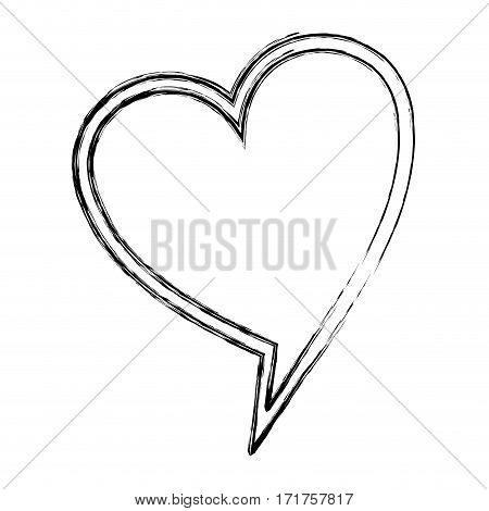 blurred silhouette heart shape dialog box vector illustration