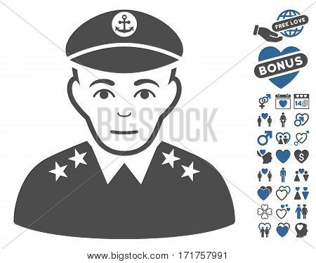 Military Captain icon with bonus romantic pictograms. Vector illustration style is flat iconic cobalt and gray symbols on white background.