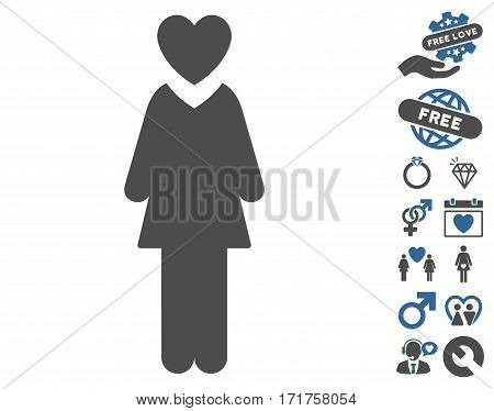 Mistress pictograph with bonus passion icon set. Vector illustration style is flat iconic cobalt and gray symbols on white background.