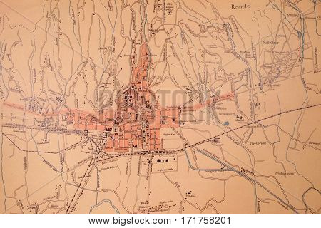 ZAGREB, CROATIA - FEBRUARY 15: Map of the City of Zagreb from 1902, exhibited in the Museum of the City of Zagreb, on February 15, 2015.