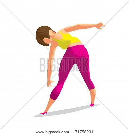 Girl doing gymnastic exercises. Woman in sportswear leans to the floor. Back view. Flat cartoon isolated vector illustration